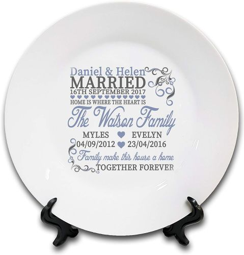 "8"" 'Personalised Home is Where The Heart is.' Novelty Ceramic Plate & Stand"